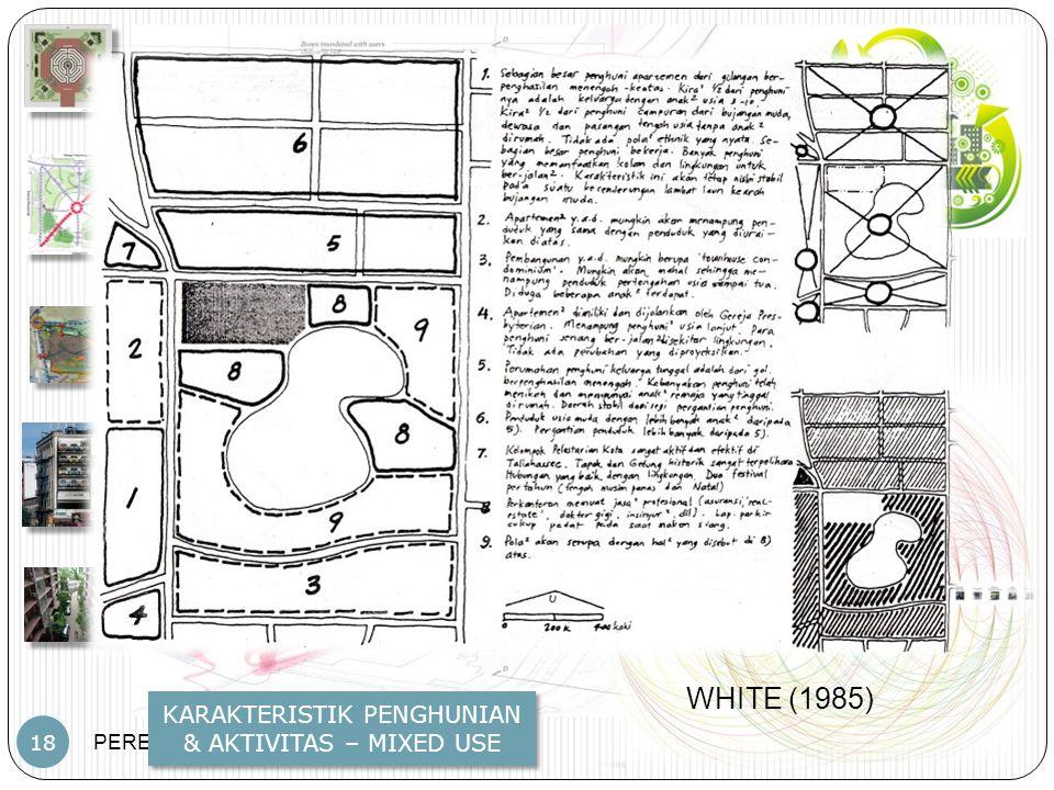 PERENCANAAN TAPAK – JP – PWK.FT.UB 18 KARAKTERISTIK PENGHUNIAN & AKTIVITAS – MIXED USE WHITE (1985)