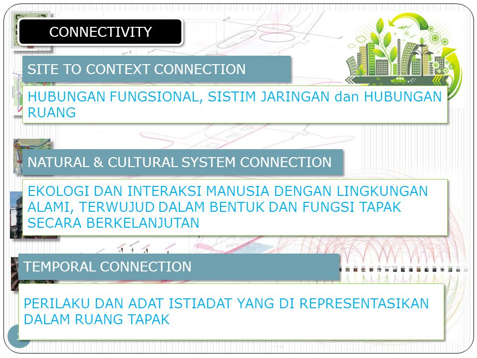 PERENCANAAN TAPAK – JP – PWK.FT.UB 3 CONNECTIVITY SITE TO CONTEXT CONNECTION HUBUNGAN FUNGSIONAL, SISTIM JARINGAN dan HUBUNGAN RUANG NATURAL & CULTURA