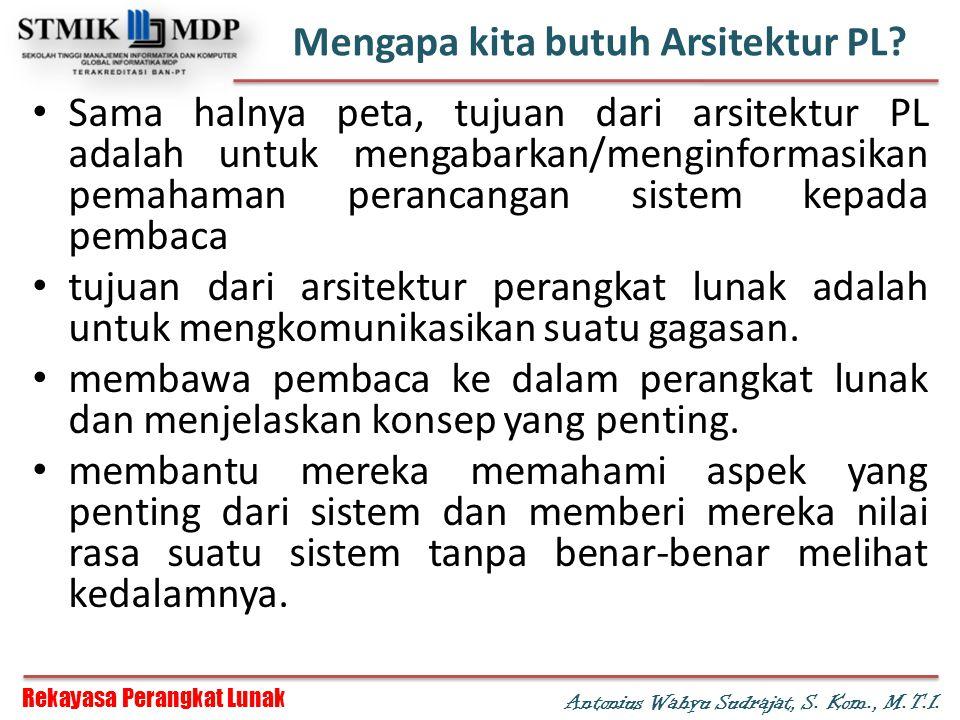 Rekayasa Perangkat Lunak Antonius Wahyu Sudrajat, S. Kom., M.T.I. Mengapa kita butuh Arsitektur PL? Sama halnya peta, tujuan dari arsitektur PL adalah