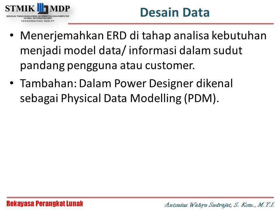 Rekayasa Perangkat Lunak Antonius Wahyu Sudrajat, S. Kom., M.T.I. Desain Data Menerjemahkan ERD di tahap analisa kebutuhan menjadi model data/ informa