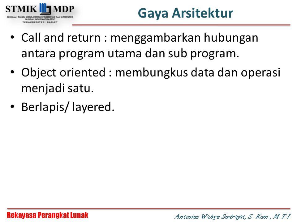 Rekayasa Perangkat Lunak Antonius Wahyu Sudrajat, S. Kom., M.T.I. Gaya Arsitektur Call and return : menggambarkan hubungan antara program utama dan su