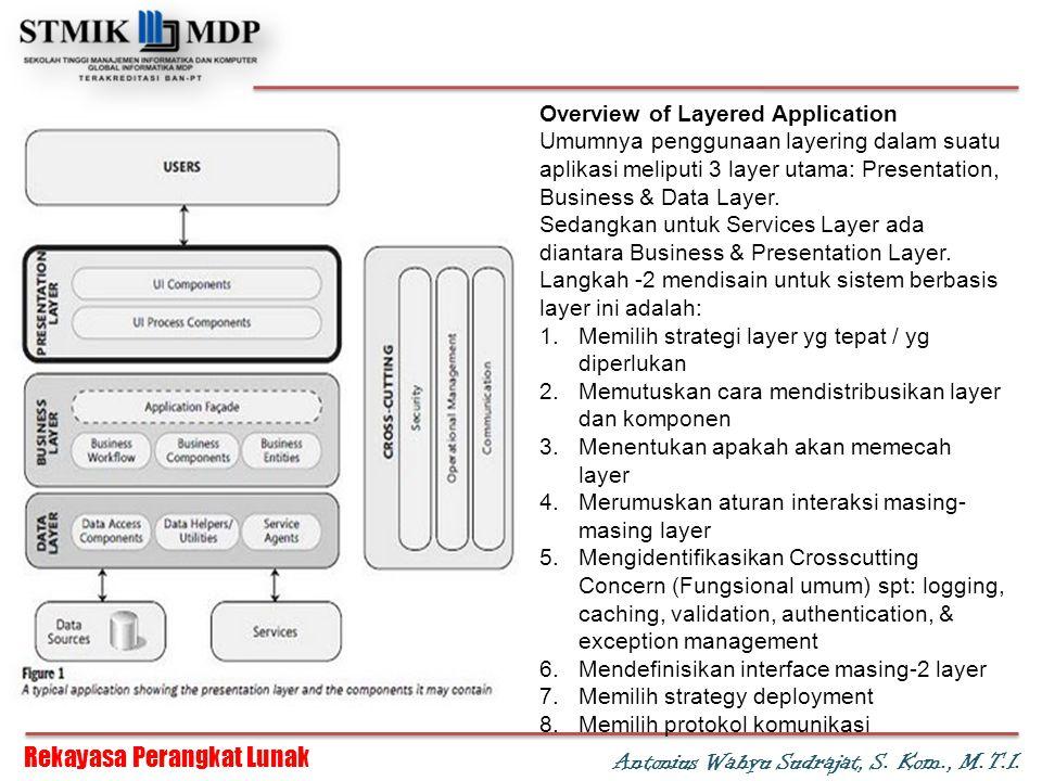 Rekayasa Perangkat Lunak Antonius Wahyu Sudrajat, S. Kom., M.T.I. Overview of Layered Application Umumnya penggunaan layering dalam suatu aplikasi mel