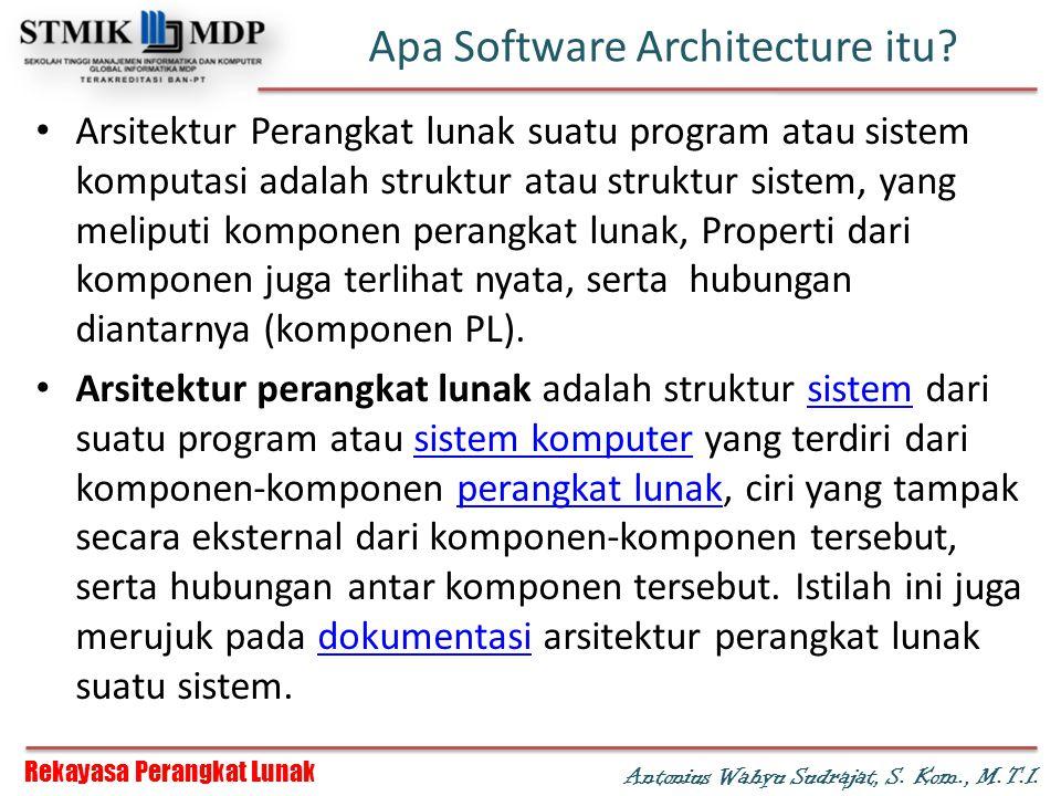 Rekayasa Perangkat Lunak Antonius Wahyu Sudrajat, S. Kom., M.T.I. Apa Software Architecture itu? Arsitektur Perangkat lunak suatu program atau sistem