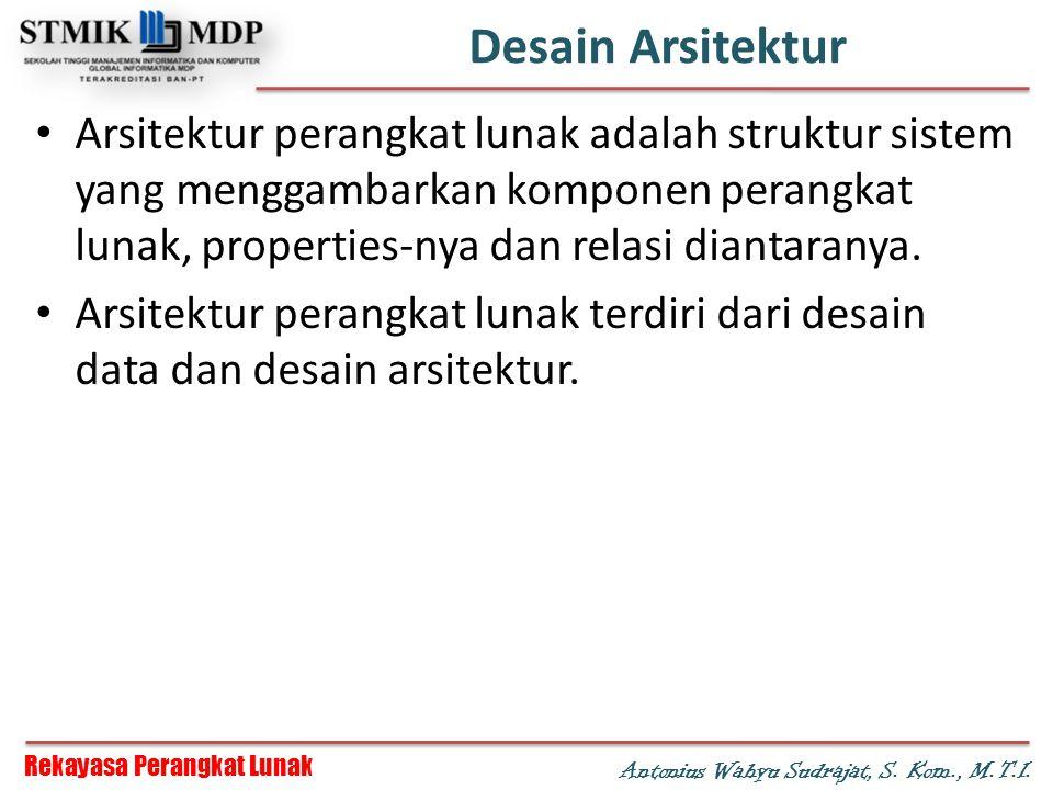 Rekayasa Perangkat Lunak Antonius Wahyu Sudrajat, S. Kom., M.T.I. Desain Arsitektur Arsitektur perangkat lunak adalah struktur sistem yang menggambark