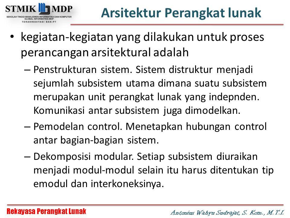 Rekayasa Perangkat Lunak Antonius Wahyu Sudrajat, S. Kom., M.T.I. Arsitektur Perangkat lunak kegiatan-kegiatan yang dilakukan untuk proses perancangan