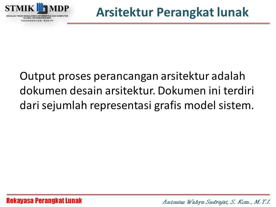 Rekayasa Perangkat Lunak Antonius Wahyu Sudrajat, S. Kom., M.T.I. Arsitektur Perangkat lunak Output proses perancangan arsitektur adalah dokumen desai