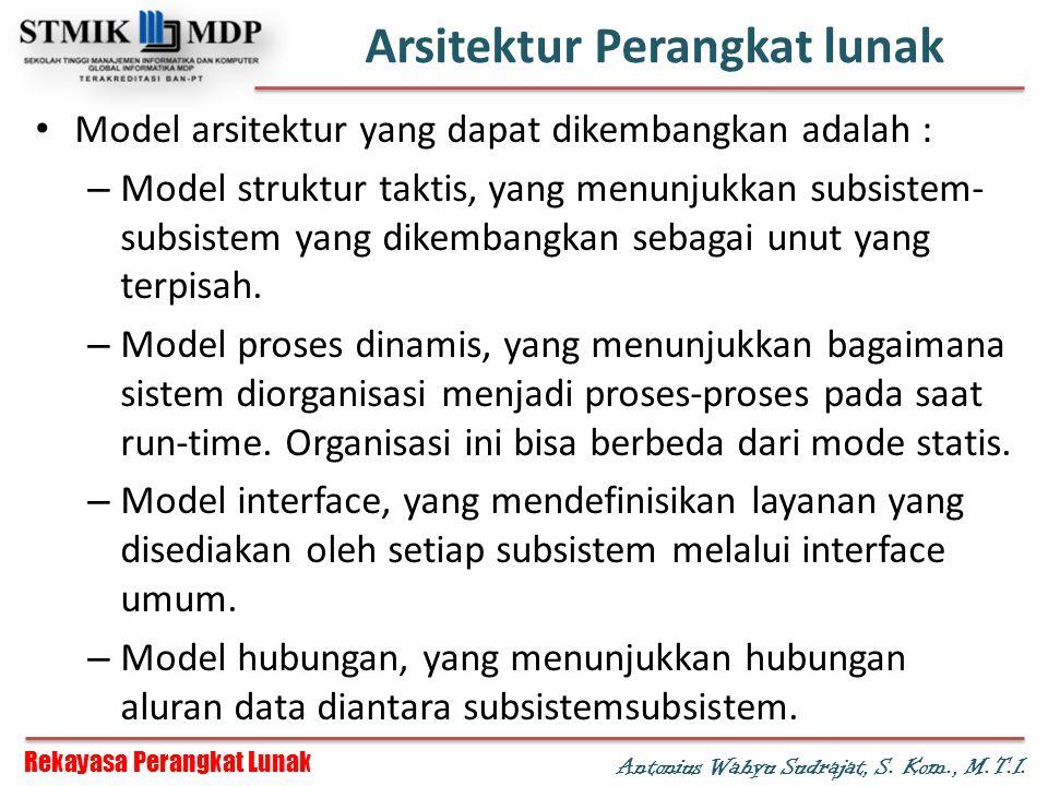 Rekayasa Perangkat Lunak Antonius Wahyu Sudrajat, S. Kom., M.T.I. Arsitektur Perangkat lunak Model arsitektur yang dapat dikembangkan adalah : – Model