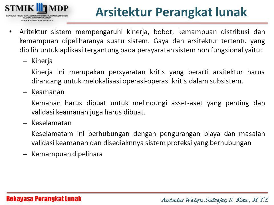 Rekayasa Perangkat Lunak Antonius Wahyu Sudrajat, S. Kom., M.T.I. Arsitektur Perangkat lunak Aritektur sistem mempengaruhi kinerja, bobot, kemampuan d