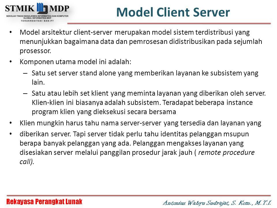 Rekayasa Perangkat Lunak Antonius Wahyu Sudrajat, S. Kom., M.T.I. Model Client Server Model arsitektur client-server merupakan model sistem terdistrib