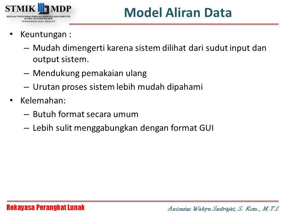 Rekayasa Perangkat Lunak Antonius Wahyu Sudrajat, S. Kom., M.T.I. Model Aliran Data Keuntungan : – Mudah dimengerti karena sistem dilihat dari sudut i