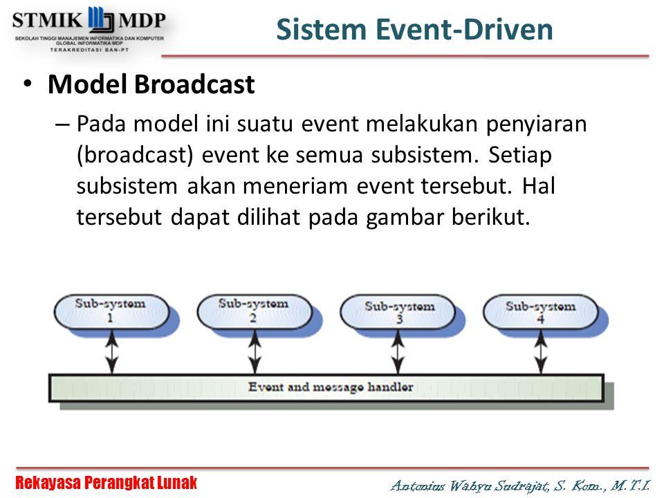 Rekayasa Perangkat Lunak Antonius Wahyu Sudrajat, S. Kom., M.T.I. Sistem Event-Driven Model Broadcast – Pada model ini suatu event melakukan penyiaran