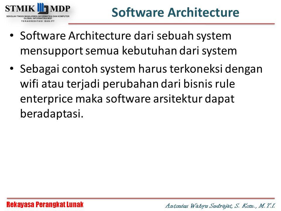 Rekayasa Perangkat Lunak Antonius Wahyu Sudrajat, S. Kom., M.T.I. Software Architecture Software Architecture dari sebuah system mensupport semua kebu