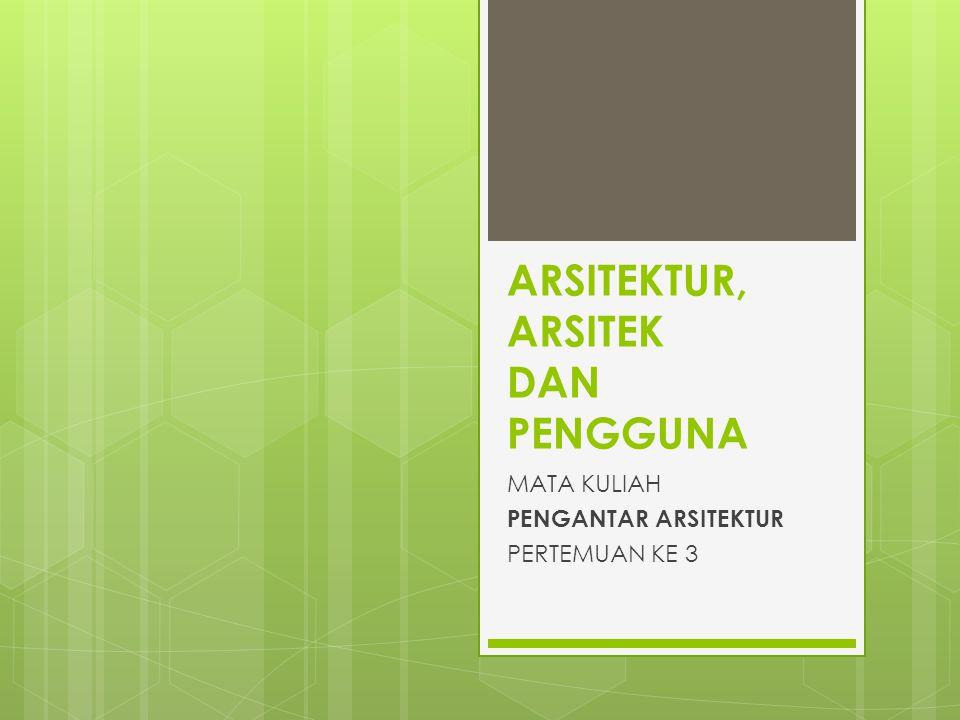 JENIS ARSITEKTUR MENURUT BRUCE ALLSOP (1980) ARSITEKTUR RAKYAT (Folk Architecture) ARSITEKTUR VERNAKULAR (Vernacular Architecture) ARSITEKTUR TRADISIONAL (Traditional Architecture) ARSITEKTUR SPIRITUAL (Spiritual Architecture) ARSITEKTUR MONUMENTAL (Monumental Architecture) ARSITEKTUR UTILITAS (Utility Architecture)