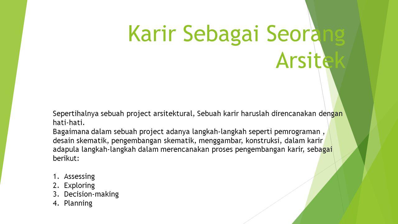Karir Sebagai Seorang Arsitek Sepertihalnya sebuah project arsitektural, Sebuah karir haruslah direncanakan dengan hati-hati. Bagaimana dalam sebuah p