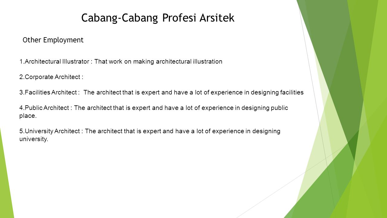 Cabang-Cabang Profesi Arsitek Architectural Education 1.Professor : 2.Architectural Historian : That work as historian that know almost all history from building.