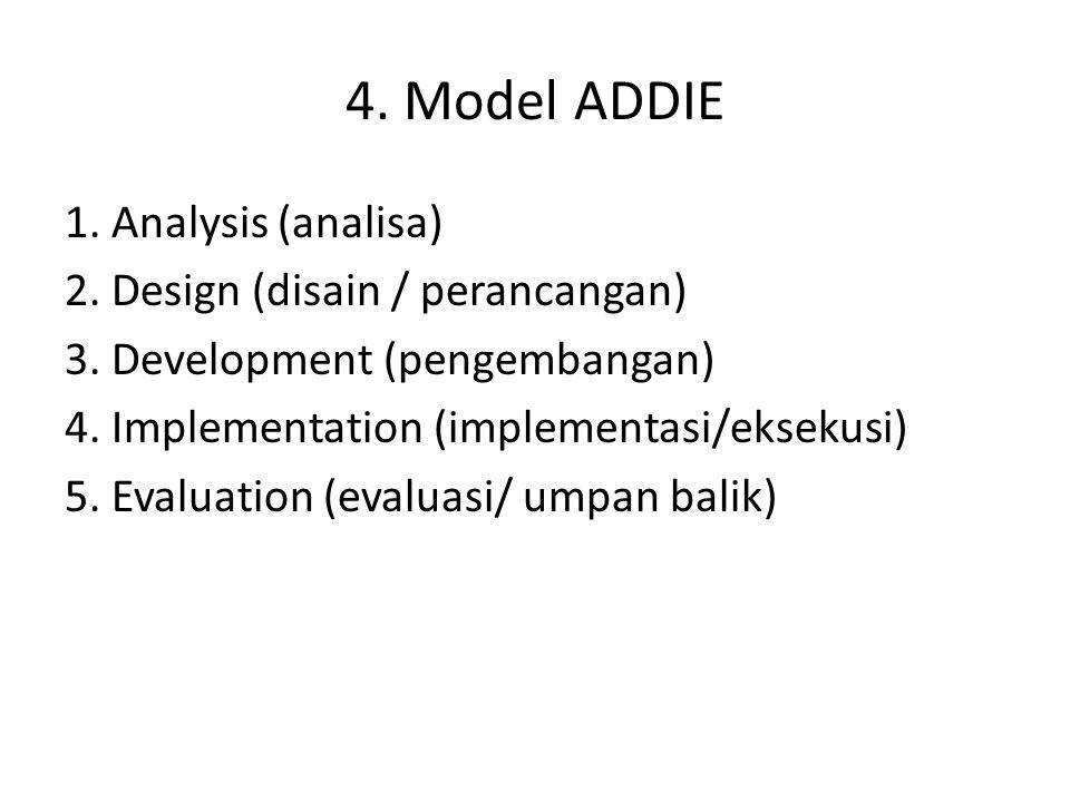 4. Model ADDIE 1. Analysis (analisa) 2. Design (disain / perancangan) 3. Development (pengembangan) 4. Implementation (implementasi/eksekusi) 5. Evalu