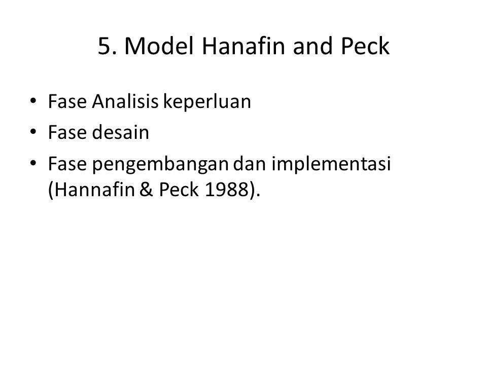 5. Model Hanafin and Peck Fase Analisis keperluan Fase desain Fase pengembangan dan implementasi (Hannafin & Peck 1988).