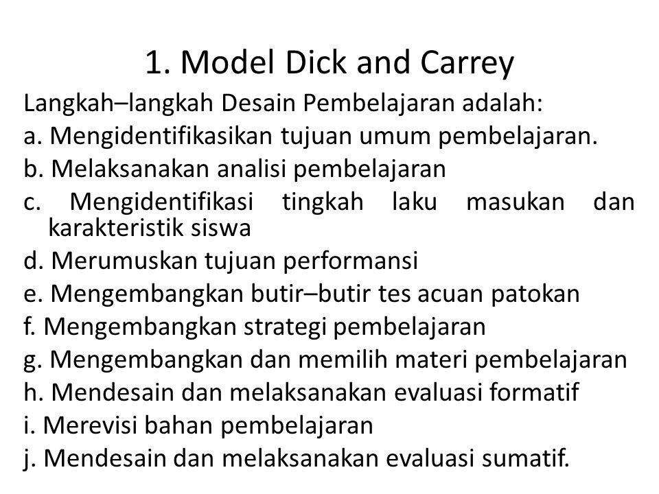 1. Model Dick and Carrey Langkah–langkah Desain Pembelajaran adalah: a. Mengidentifikasikan tujuan umum pembelajaran. b. Melaksanakan analisi pembelaj