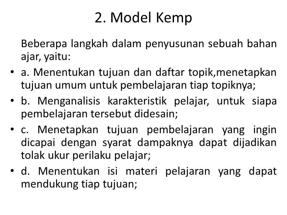 2. Model Kemp Beberapa langkah dalam penyusunan sebuah bahan ajar, yaitu: a. Menentukan tujuan dan daftar topik,menetapkan tujuan umum untuk pembelaja