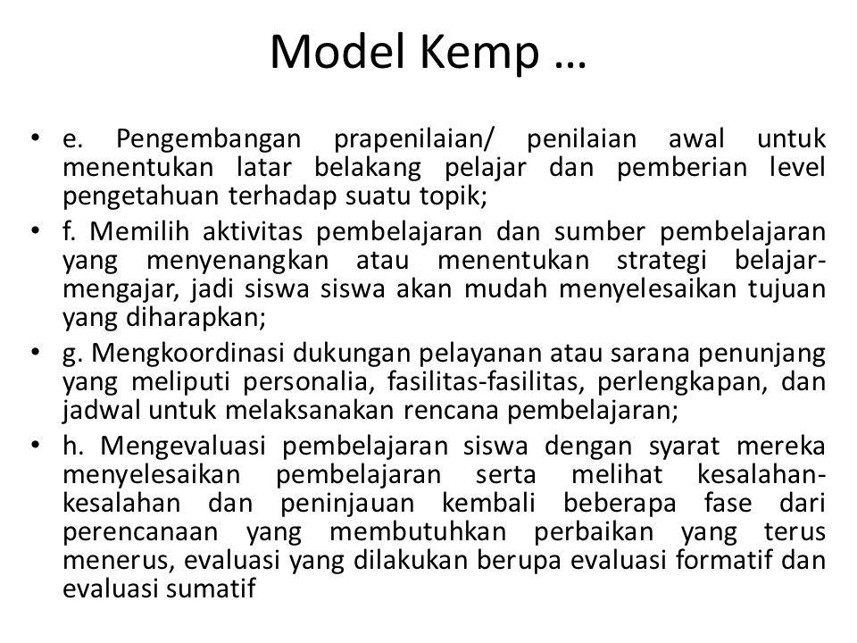 Model Kemp … e. Pengembangan prapenilaian/ penilaian awal untuk menentukan latar belakang pelajar dan pemberian level pengetahuan terhadap suatu topik