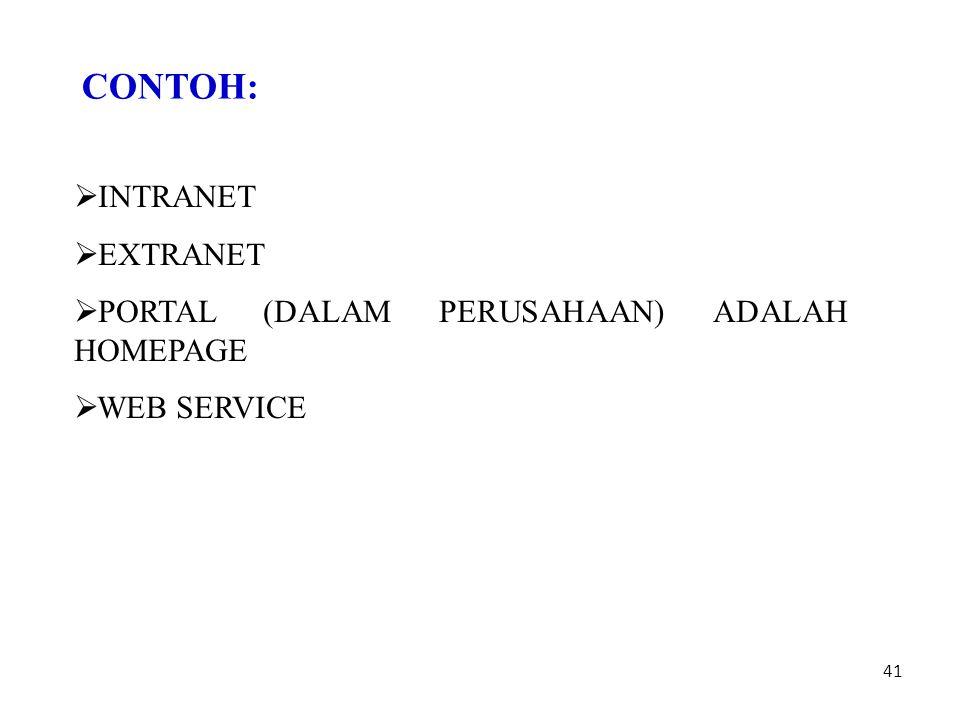 41 CONTOH:  INTRANET  EXTRANET  PORTAL (DALAM PERUSAHAAN) ADALAH HOMEPAGE  WEB SERVICE