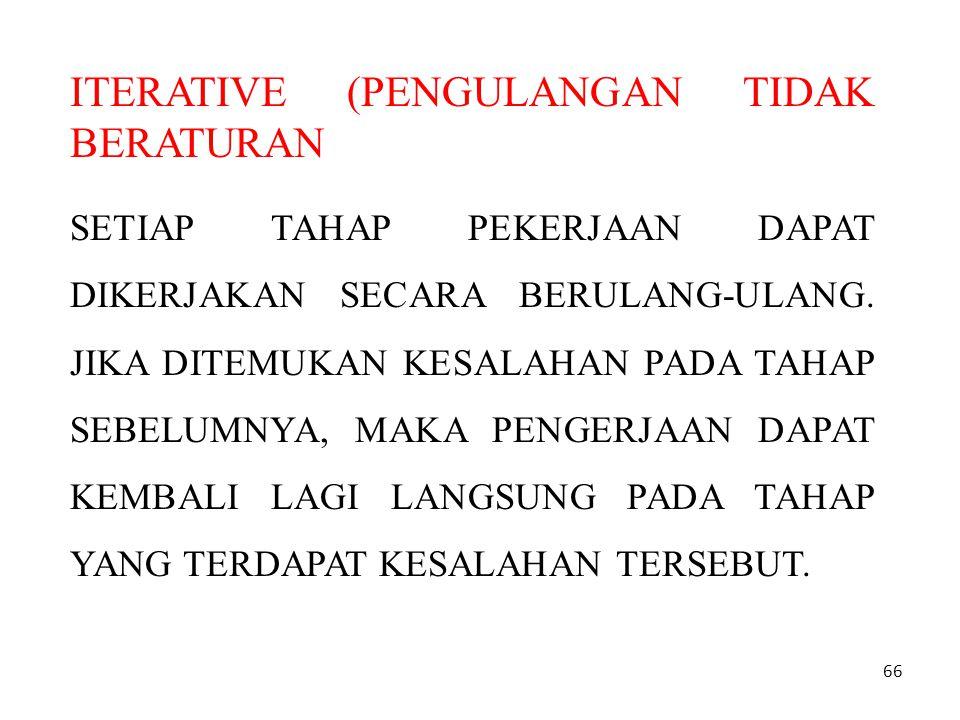 66 ITERATIVE (PENGULANGAN TIDAK BERATURAN SETIAP TAHAP PEKERJAAN DAPAT DIKERJAKAN SECARA BERULANG-ULANG.