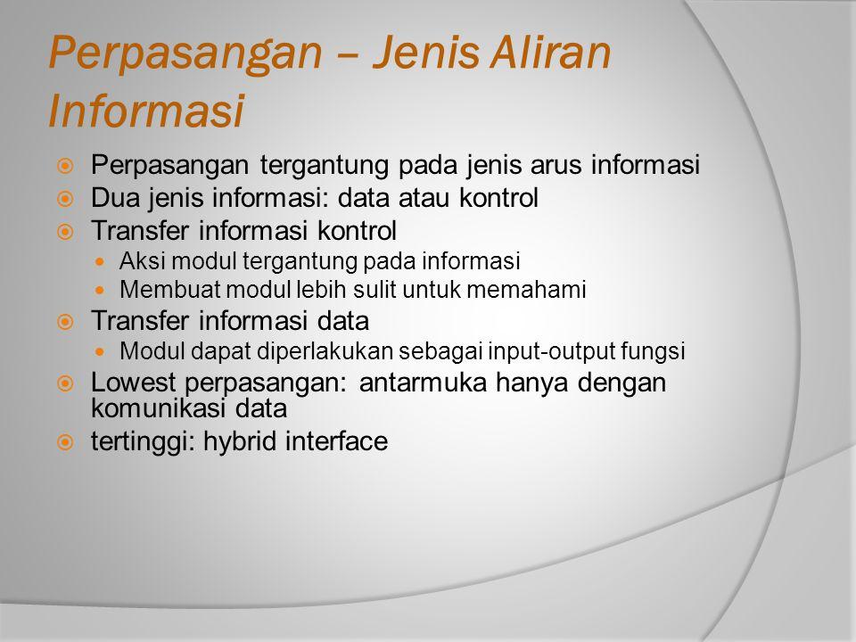 Perpasangan – Jenis Aliran Informasi  Perpasangan tergantung pada jenis arus informasi  Dua jenis informasi: data atau kontrol  Transfer informasi