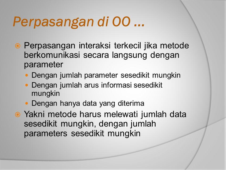 Perpasangan di OO...  Perpasangan interaksi terkecil jika metode berkomunikasi secara langsung dengan parameter Dengan jumlah parameter sesedikit mun