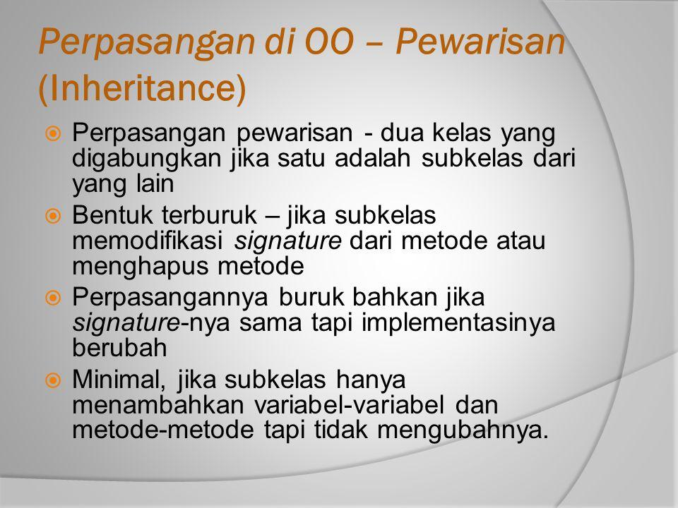 Perpasangan di OO – Pewarisan (Inheritance)  Perpasangan pewarisan - dua kelas yang digabungkan jika satu adalah subkelas dari yang lain  Bentuk ter