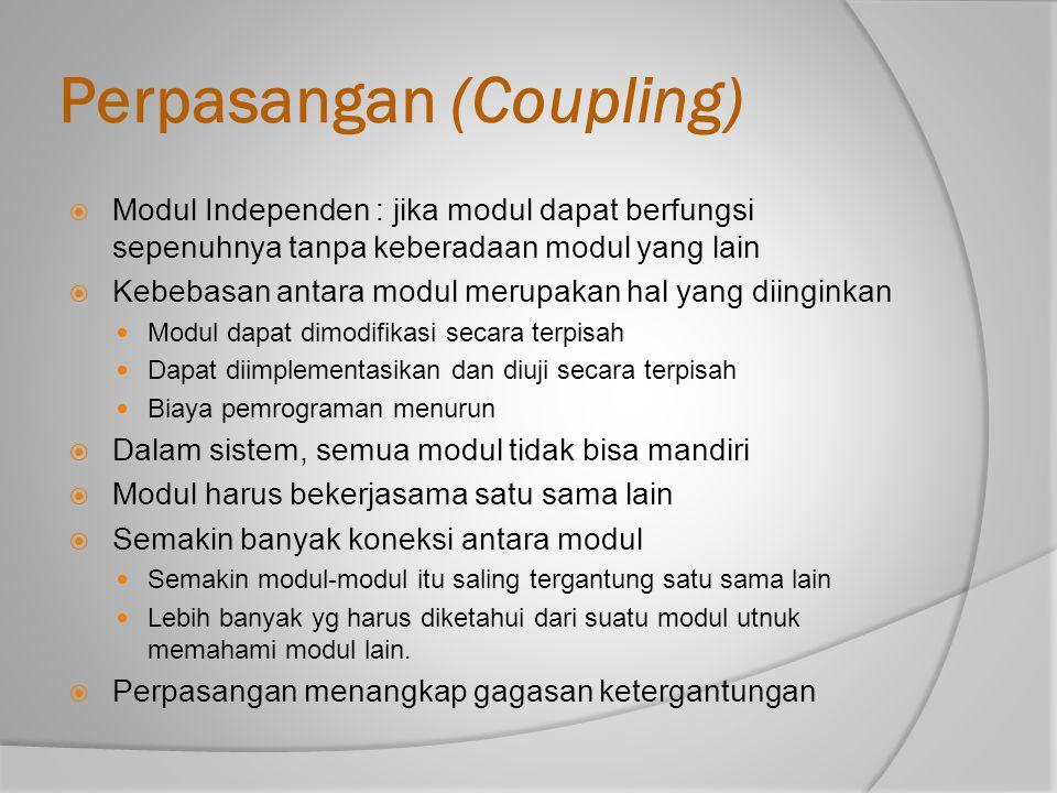 Perpasangan (Coupling)  Modul Independen : jika modul dapat berfungsi sepenuhnya tanpa keberadaan modul yang lain  Kebebasan antara modul merupakan