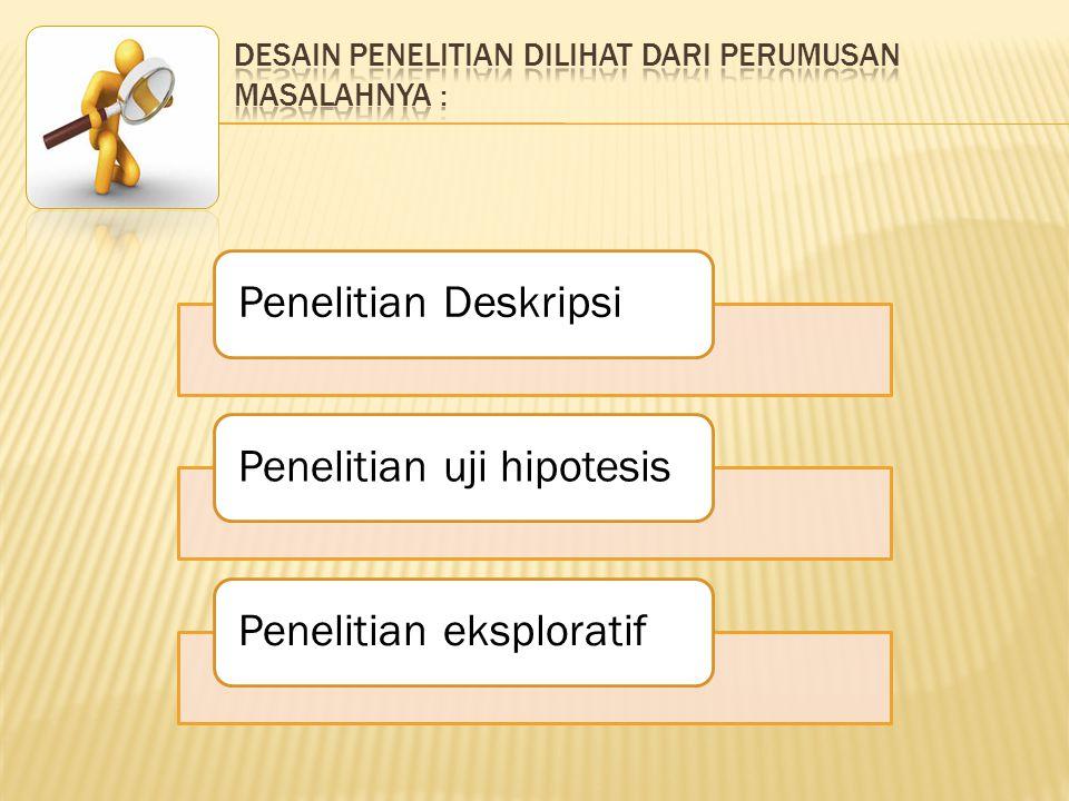 Penelitian DeskripsiPenelitian uji hipotesisPenelitian eksploratif