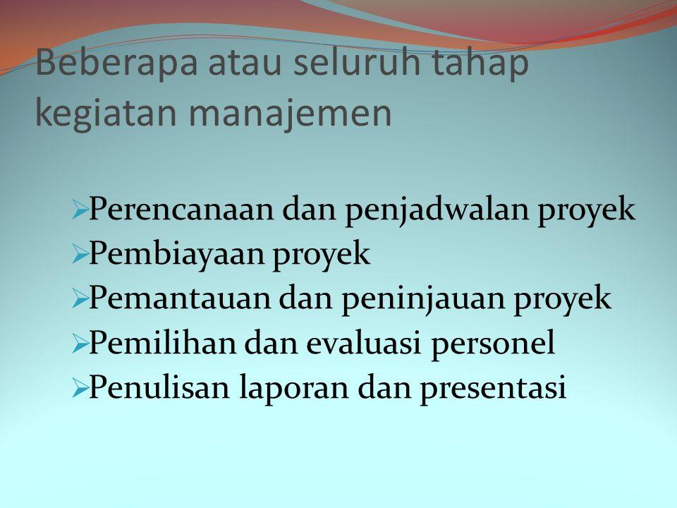 Kegiatan-kegiatan Manajemen Pekerjaan ini sangat bervariasi, tergantung pada organisasi dan produk perangkat lunak yang dikembangkan.