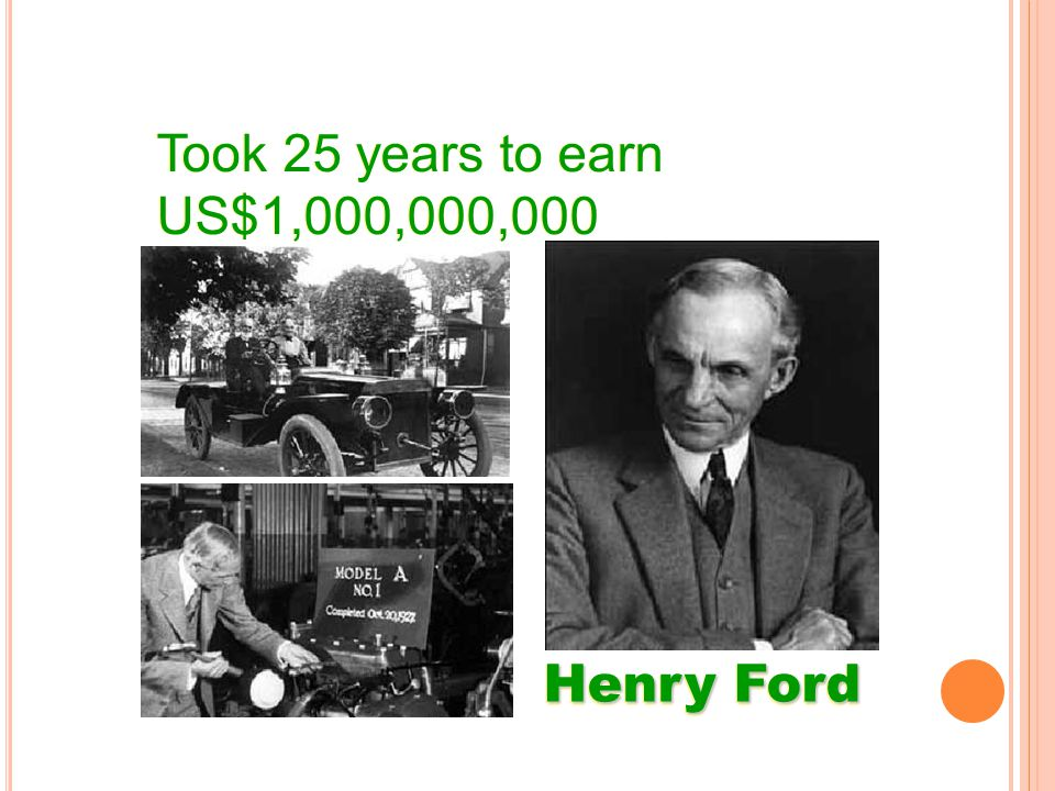 Took 25 years to earn US$1,000,000,000 Took 25 years to earn US$1,000,000,000 Henry Ford