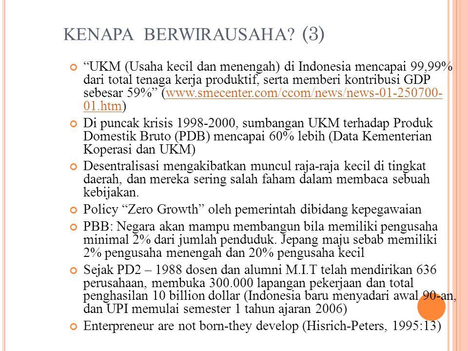 """KENAPA BERWIRAUSAHA? (3) """"UKM (Usaha kecil dan menengah) di Indonesia mencapai 99,99% dari total tenaga kerja produktif, serta memberi kontribusi GDP"""