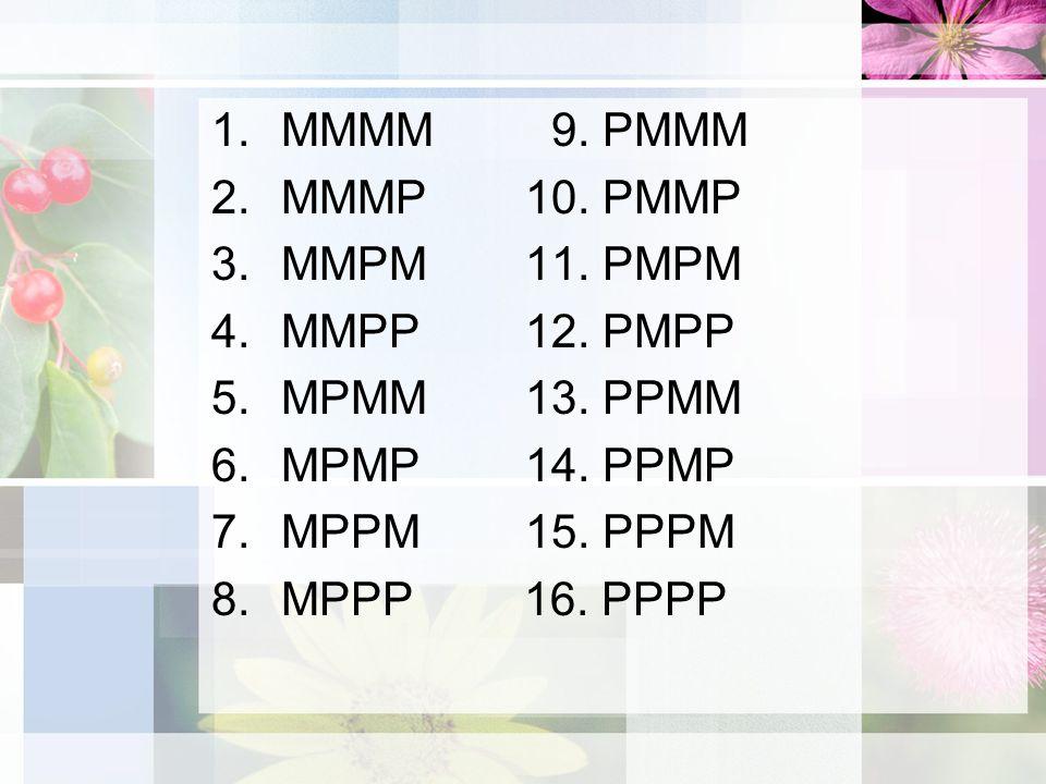 1.MMMM 9.PMMM 2.MMMP10. PMMP 3.MMPM11. PMPM 4.MMPP12.