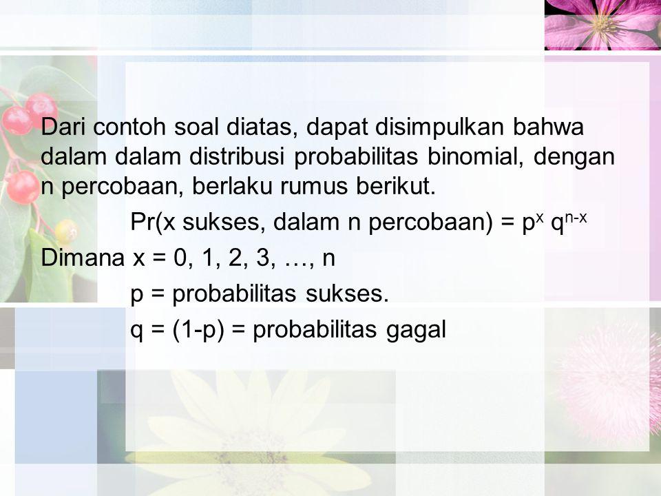 Dari contoh soal diatas, dapat disimpulkan bahwa dalam dalam distribusi probabilitas binomial, dengan n percobaan, berlaku rumus berikut.