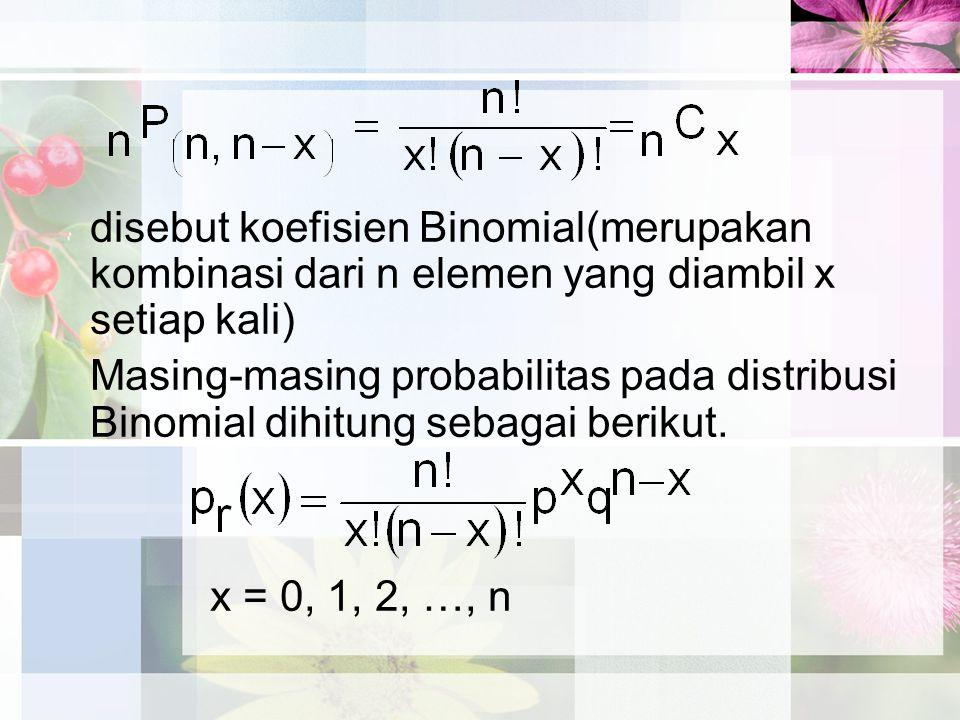 disebut koefisien Binomial(merupakan kombinasi dari n elemen yang diambil x setiap kali) Masing-masing probabilitas pada distribusi Binomial dihitung sebagai berikut.