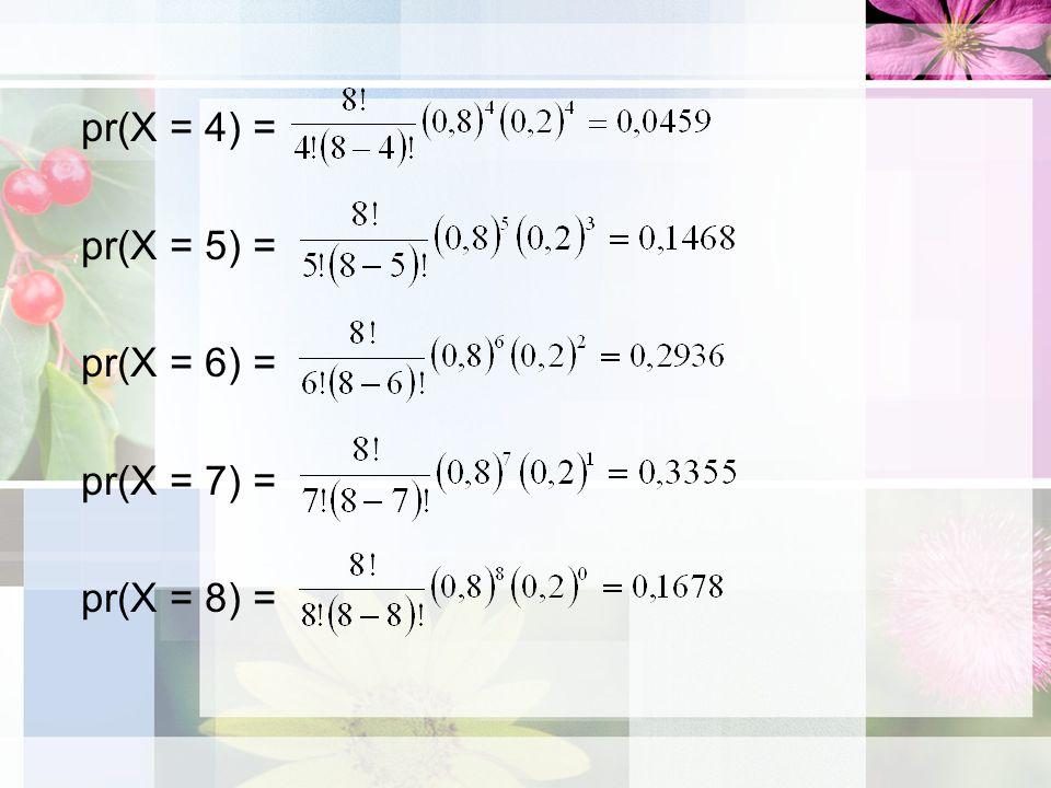pr(X = 4) = pr(X = 5) = pr(X = 6) = pr(X = 7) = pr(X = 8) =