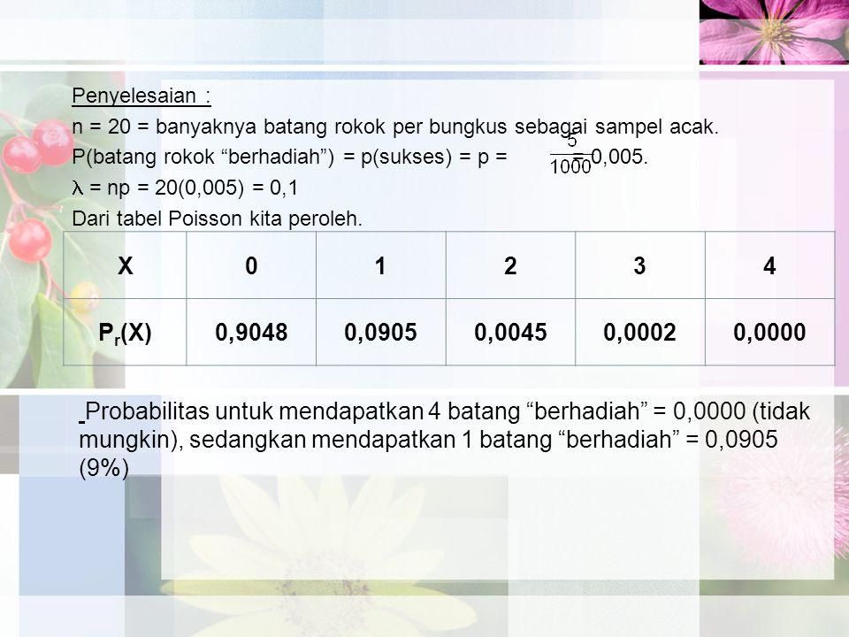 Penyelesaian : n = 20 = banyaknya batang rokok per bungkus sebagai sampel acak.
