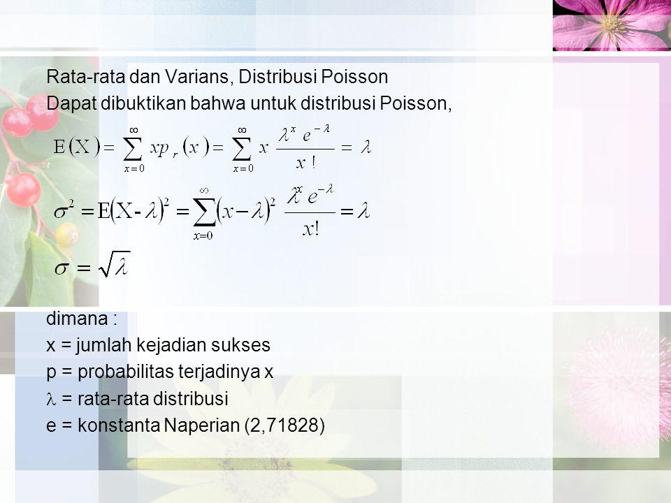 Rata-rata dan Varians, Distribusi Poisson Dapat dibuktikan bahwa untuk distribusi Poisson, dimana : x = jumlah kejadian sukses p = probabilitas terjadinya x = rata-rata distribusi e = konstanta Naperian (2,71828)