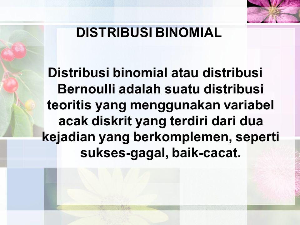 E(Yi) = 1(p) + 0(1 – p) = p + 0 = p, untuk semua i E(X) = E(  Y i ) =  E(Y i ) = E(Y 1 ) + E(Y 2 ) + …+ E(Y n ) = = np Jadi rata-rata dari distribusi binomial adalah np Sedangkan untuk menentukan varians dari distribusi binomial, kita menggunakan rumus.