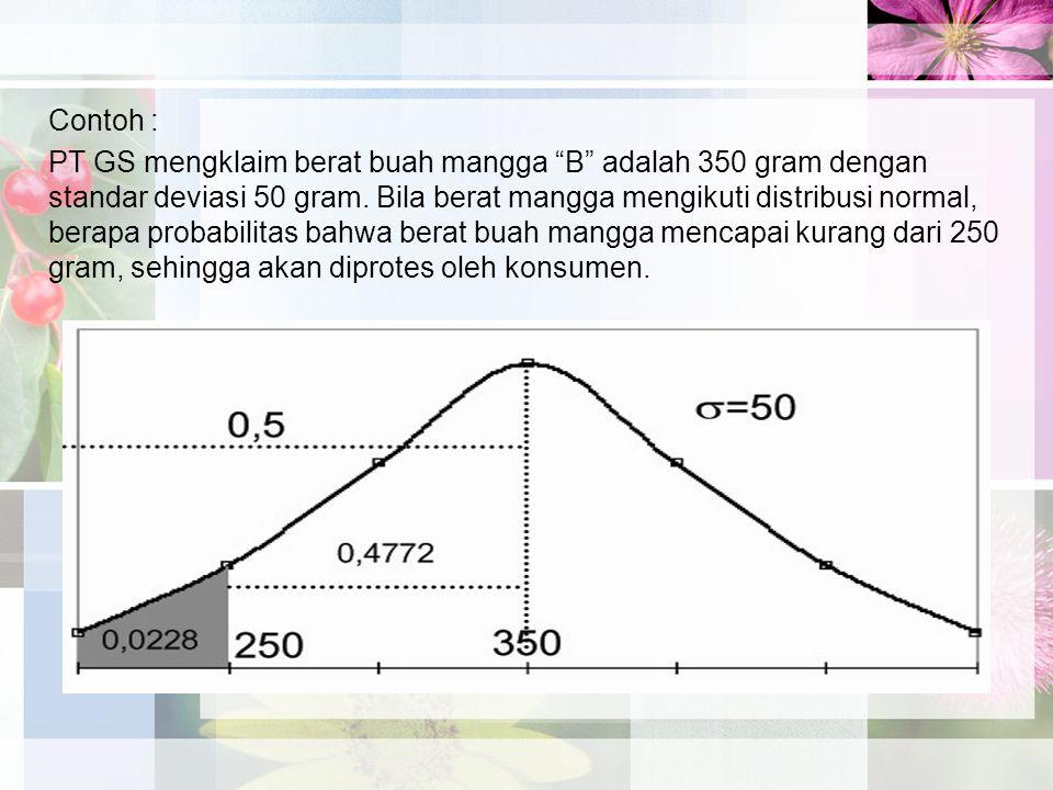 Contoh : PT GS mengklaim berat buah mangga B adalah 350 gram dengan standar deviasi 50 gram.