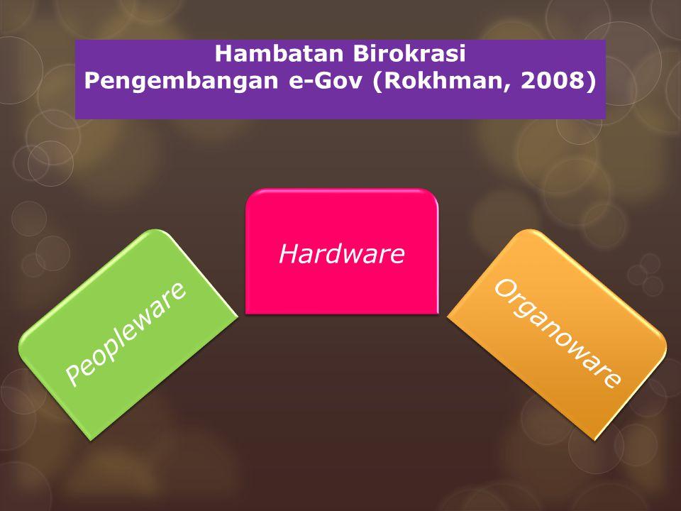 Hambatan Birokrasi Pengembangan e-Gov (Rokhman, 2008) Peopleware Hardware Organoware