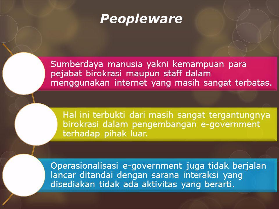 Peopleware Sumberdaya manusia yakni kemampuan para pejabat birokrasi maupun staff dalam menggunakan internet yang masih sangat terbatas. Hal ini terbu