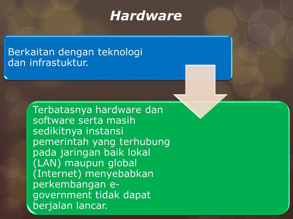 Hardware Berkaitan dengan teknologi dan infrastuktur. Terbatasnya hardware dan software serta masih sedikitnya instansi pemerintah yang terhubung pada
