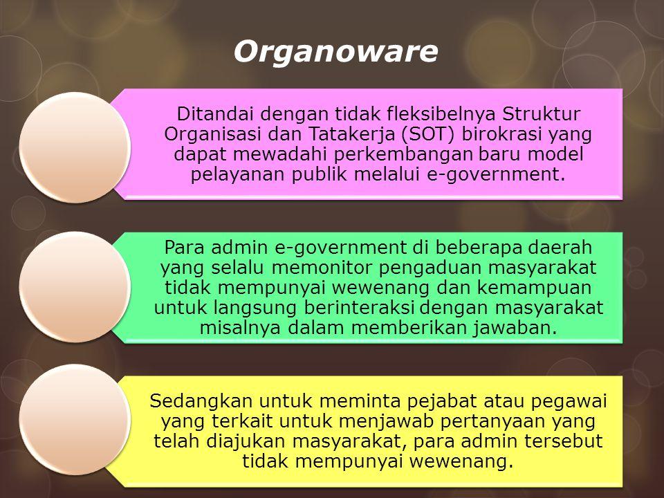 Organoware Ditandai dengan tidak fleksibelnya Struktur Organisasi dan Tatakerja (SOT) birokrasi yang dapat mewadahi perkembangan baru model pelayanan publik melalui e-government.