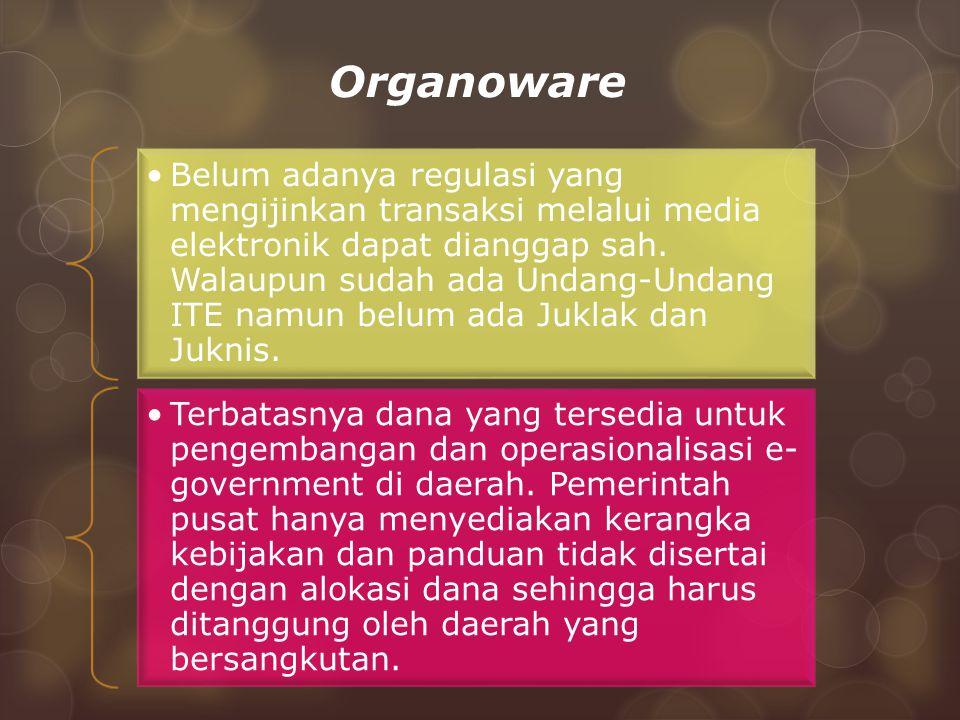 Organoware Belum adanya regulasi yang mengijinkan transaksi melalui media elektronik dapat dianggap sah.