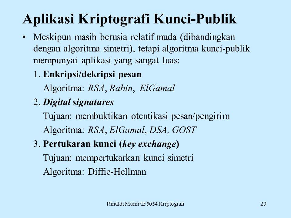 Rinaldi Munir/IF5054 Kriptografi20 Aplikasi Kriptografi Kunci-Publik Meskipun masih berusia relatif muda (dibandingkan dengan algoritma simetri), tetapi algoritma kunci-publik mempunyai aplikasi yang sangat luas: 1.