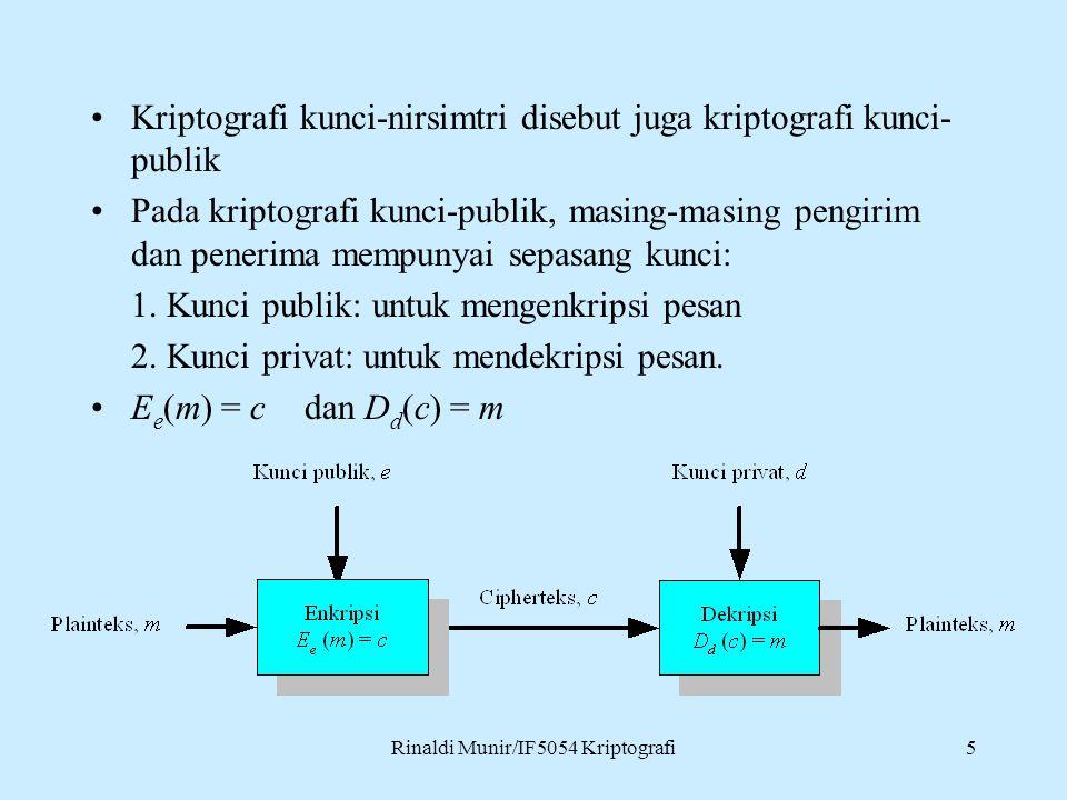 Rinaldi Munir/IF5054 Kriptografi5 Kriptografi kunci-nirsimtri disebut juga kriptografi kunci- publik Pada kriptografi kunci-publik, masing-masing pengirim dan penerima mempunyai sepasang kunci: 1.