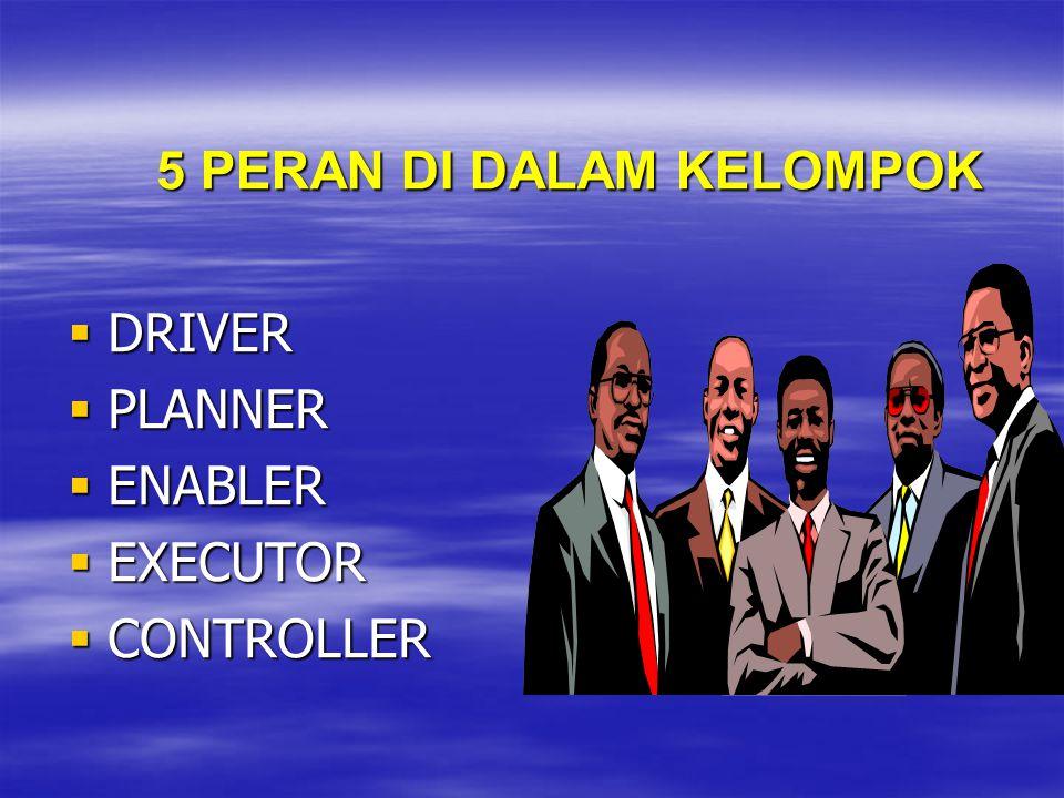 5 PERAN DI DALAM KELOMPOK  DRIVER  PLANNER  ENABLER  EXECUTOR  CONTROLLER